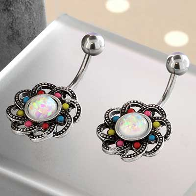 Beaded Opal Floral Navel
