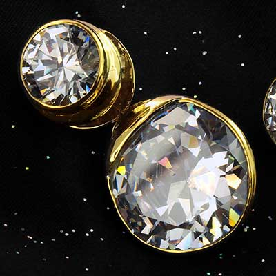 Solid Brass Fused Saddle Weights with Clear CZ