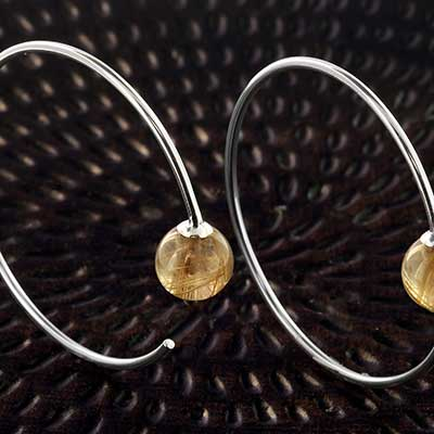 Silver Round Dew Drop Design with Rutilated Quartz