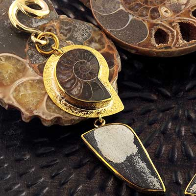 Solid Brass and Ammonite with Chalcopyrite Weights