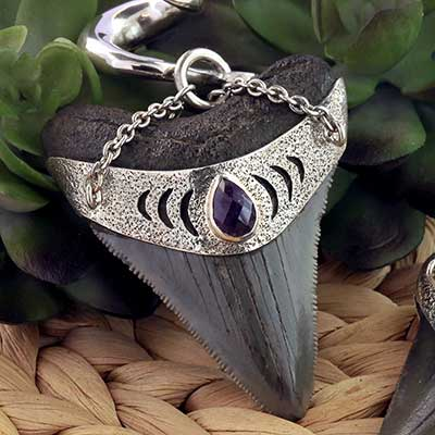 Silver and Megalodon Teeth Weights with Amethyst