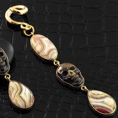 Solid Brass and Agate with Golden Obsidian Skull Dangle Weights