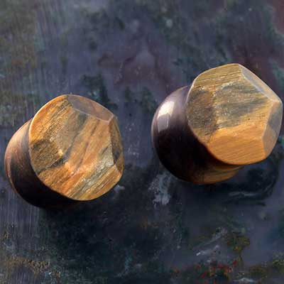 Blue Tiger Eye Crown Faceted Plugs