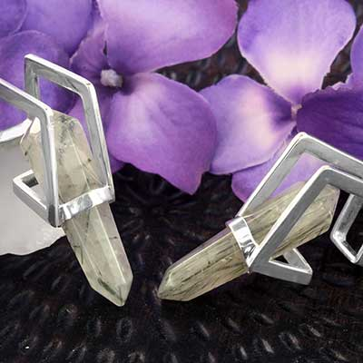 Silver Plated Vex Weights with Prehnite