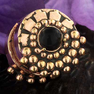 Rose gold plated Bloom Disc Weights with Black Onyx