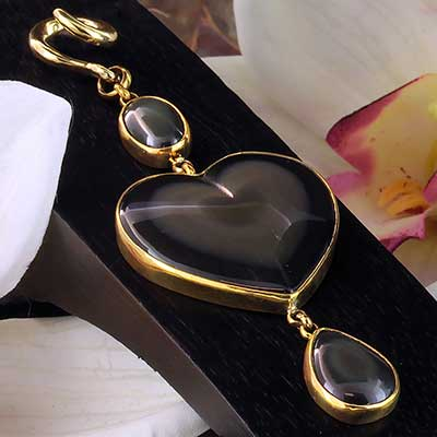 Solid Brass and Rainbow Obsidian Heart Weights