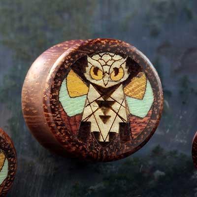 Granadillo Wood Wise Owl Plugs
