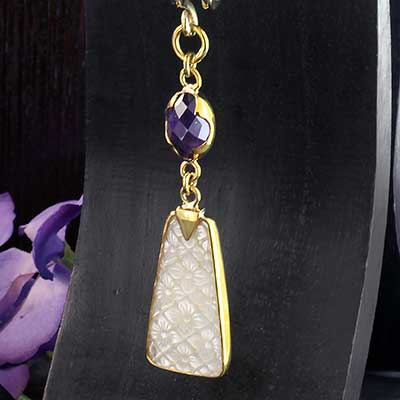 Solid Brass and White Mother of Pearl with Amethyst Weights