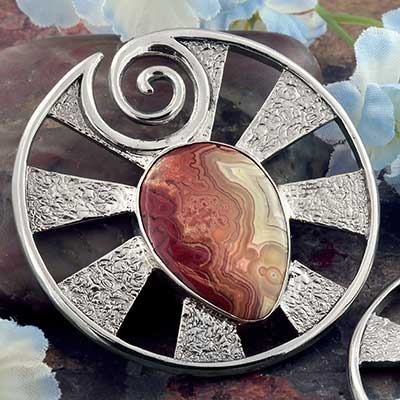 White Brass Eye of Shiva Design with Crazy Lace Agate