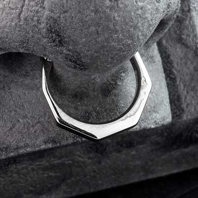 Titanium Geometric Septum Clicker Ring