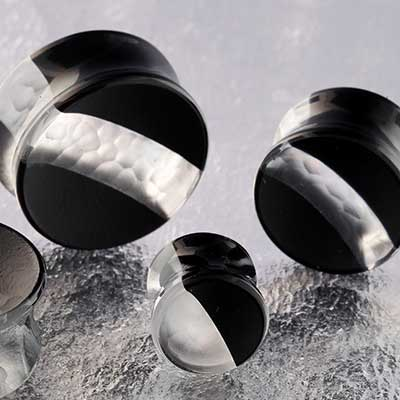 Hybrid Concave Plugs (Black and Martele Crystal)