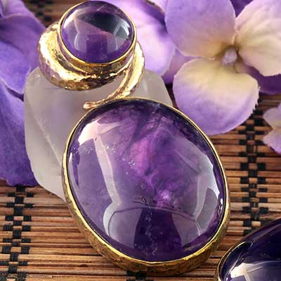 Hammered Brass Fused Coil Weights with Amethyst