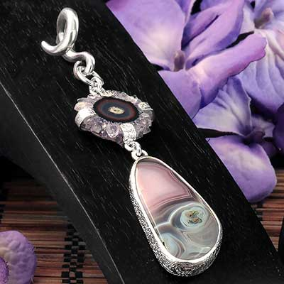 Silver and Botswana Agate with Stalactite Weights