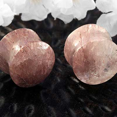 Copper Rutilated Quartz Plugs