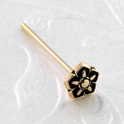 Gold Solar Flower Straight Nosescrew