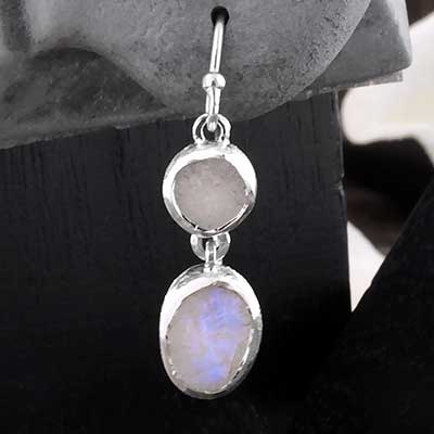 Silver Double Rainbow Moonstone Earrings