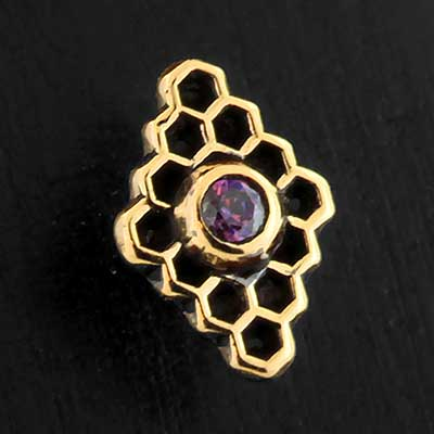Gold Diamond Honeycomb Threaded End