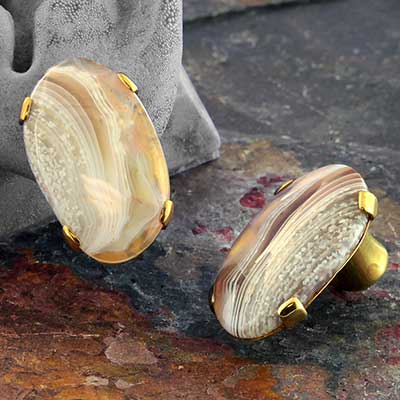 Brass Plugs with Free Form Botswana Agate