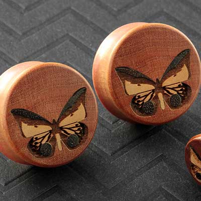 Pink Ivory Wood Butterfly Plugs
