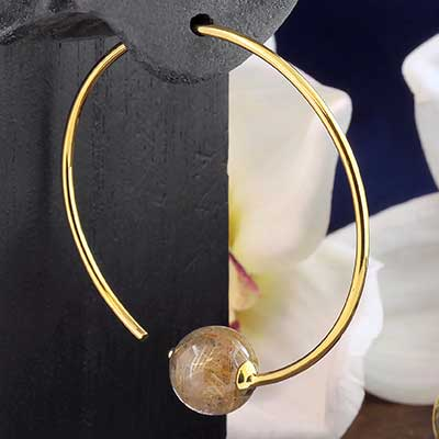 Brass Round Dew Drop Design with Rutilated Quartz