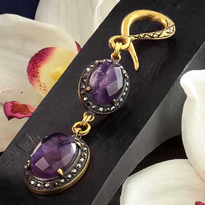Oxidized Brass with Amethyst Weights