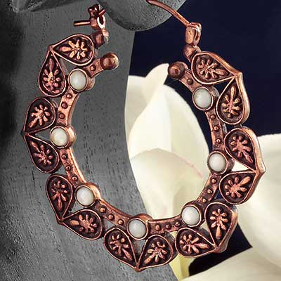 Copper Alam Hoops with Shell Inlays