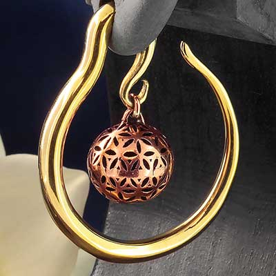Brass Hoops with Copper Seed of Life Ball
