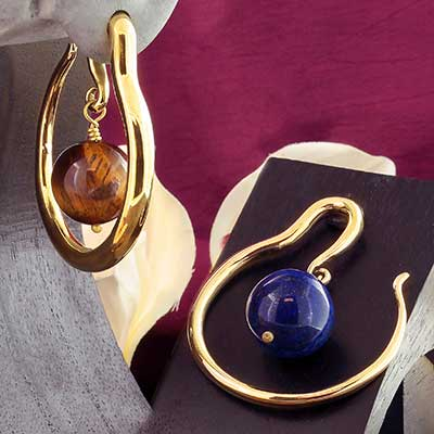 Brass Hoops with Stone Ball