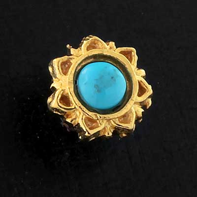 Gold Turquoise Sun Threaded End