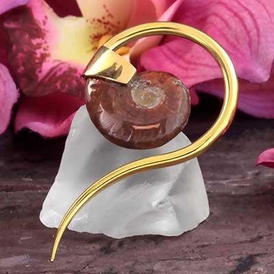 Brass and Ammonite Swan Spiral Weights