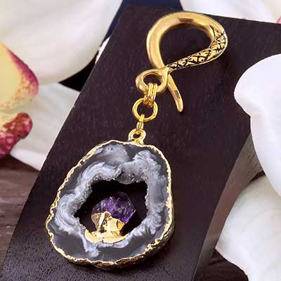 Brass with Geode Druzy and Amethyst Weights