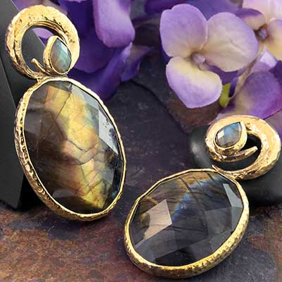 Hammered Brass Fused Coil Weights with Labradorite
