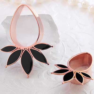 Rose Gold Plated Marquise Eyelets with Black Onyx