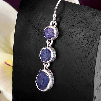 Silver Triple Tanzanite Earrings
