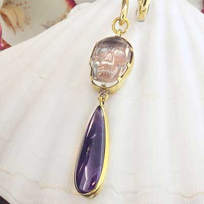 Solid Brass and Quartz Skull with Amethyst Weights