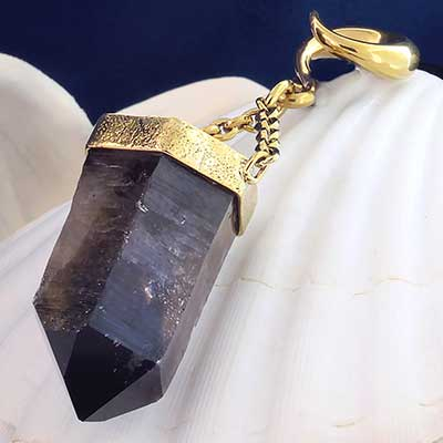 Solid Brass and Smokey Quartz Crystal Weights