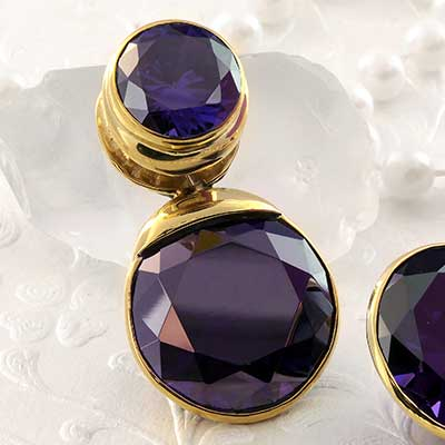 Solid Brass Fused Saddle Weights with Purple CZ