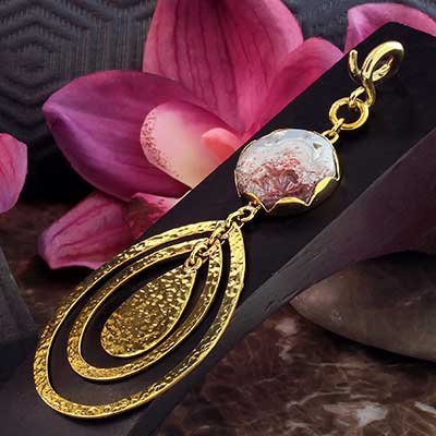 Hammered Brass and Crazy Lace Agate Movement Weights