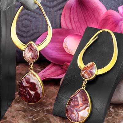 Solid Brass Teardrop Design with Botswana Agate