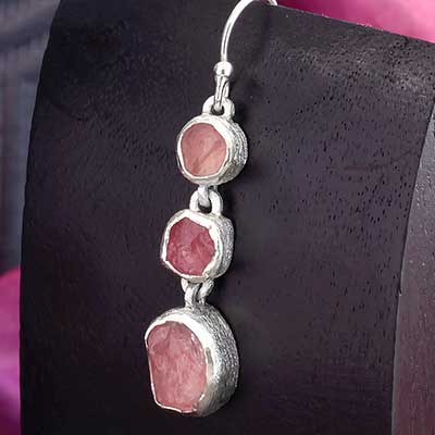Silver Triple Rose Quartz Earrings