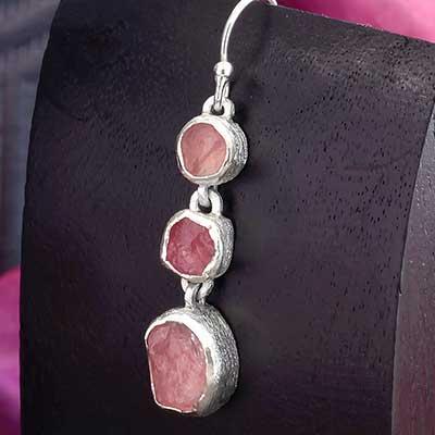 Silver Triple Rose Quartz Earrings