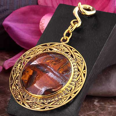 Solid Brass and Tiger Eye Medallion Weights
