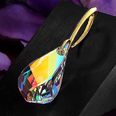 AB Swarovski Teardrop Crystal Design with Brass Hooks