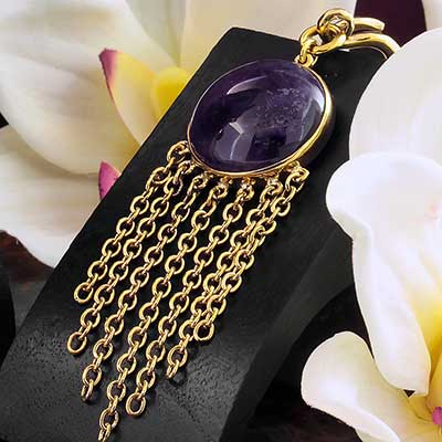 Solid Brass and Chain Wheel Weights with Amethyst