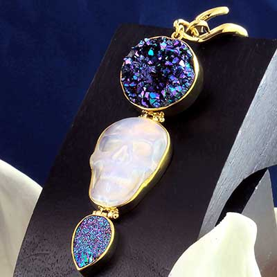 Solid Brass and Opalite Skull and Druzy Weights