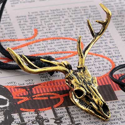 Brass Deer Skull Necklace