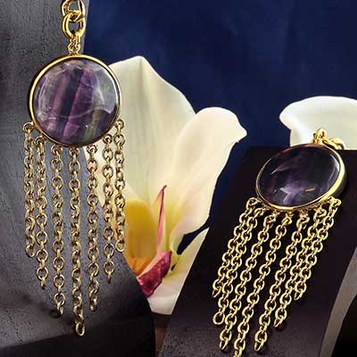 Solid Brass and Chain Wheel Weights with Fluorite