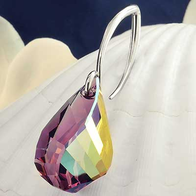 Purple Teardrop Swarovski Crystal Design with White Brass Hooks