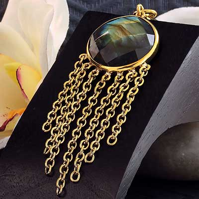 Solid Brass and Chain Wheel Weights with Labradorite
