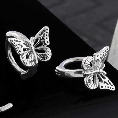 Steel Side Set Butterfly Clicker Ring